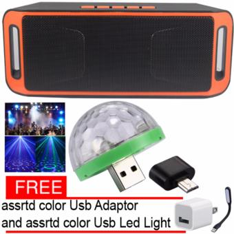 Megabass SC208 A2DP Bluetooth Wireless Stereo Speaker (Orange) andLed Disco Party Light with free assrtd color Usb Adaptor and UsbLed Light