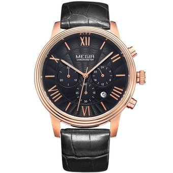 Megir Original Chronograph & 24 Hours Function Men Genuine Leather Analog Quartz Casual Watch Men Wristwatch (Intl)