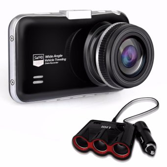Meknic M5 Car Cam Recorder 1080P Full HD (Black) with 818 2 USB Ports and 3 Ways Triple Car Cigarette Lighter Socket Splitter 12V Charger Adapter