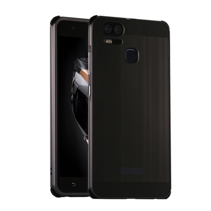 Metal Bumper And Wire Drawing PC Back Cover Case For ASUS Zenfone 3 Zoom ZE553KL (Black) - intl