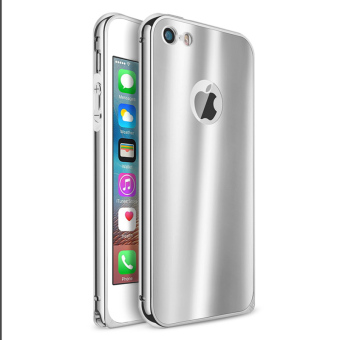 Metal Bumper Case w/ Acrylic Bling Cover for Apple iPhone 5S / SE /5 (Silver)