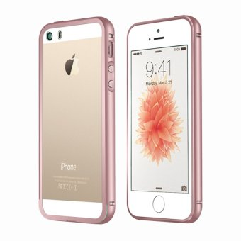 Metal Bumper Case w/ Clear Cover for Apple iPhone SE / 5S / 5 (Rose Gold)