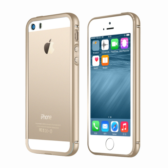 Metal Bumper Case w/ Clear Cover for Apple iPhone SE / 5S / 5(Gold)