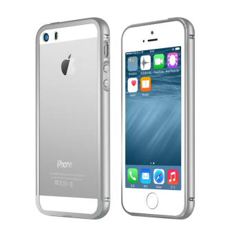 Metal Bumper Case w/ Clear Cover for Apple iPhone SE / 5S / 5(Silver)