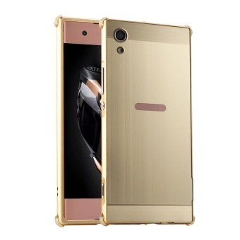 Metal Bumper Wire Drawing Back Cover Case For Sony Xperia XA1(Gold) - intl