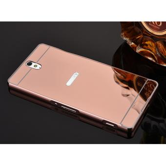 Metal Bumper+Acrylic Cover Mirror Case for Sony Xperia C5 / E5563 /C5 ultra (Rose Gold) - intl