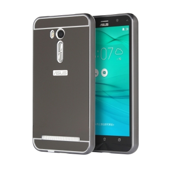 Metal Frame Bumper Case Mirror Effect Hard PC Back Cover for Asus ZenFone Go ZB551KL (Black)