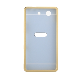 Metal Frame Bumper Case Mirror Effect Hard PC Back Cover for SonyXperia Z1 Compact / Z1 Mini (Gold) - 3
