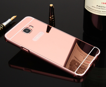 Metal Frame Bumper Case Mirror Effect PC Back Cover For SamsungGalaxy C7 (Rose Gold) - intl