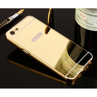 Metal Frame Mirror Back Cover Case For OPPO A57 (Gold) - intl