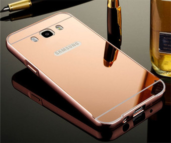 Metal Frame Mirror Back Cover Case For Samsung Galaxy J7 2016 (RoseGold) - intl