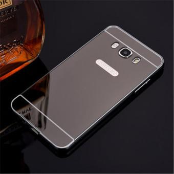 Metal Frame Mirror Back Cover Case For Samsung Galaxy J7 2016(Black) - intl - 4