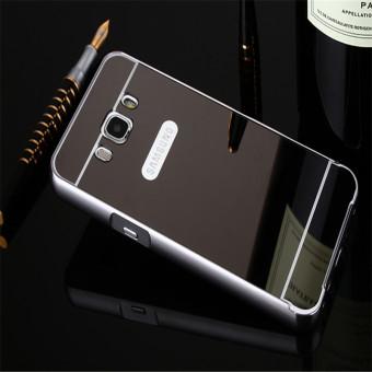 Metal Frame Mirror Back Cover Case For Samsung Galaxy J7 2016(Black) - intl - 3