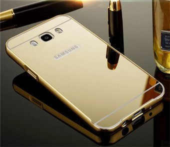 Metal Frame Mirror Back Cover Protection Case For Sam sung Galaxy J7 2016 (Gold) - intl