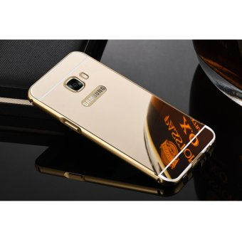 Metal mirror border Back Cover case For S amsung Galaxy S6 Edge(gold) - intl
