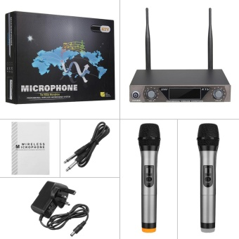 Metal Pro 2-Channel UHF Dual Mic Cordless Wireless Handheld Microphone System UK Plug - intl