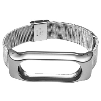 Metal Replacement Screwless Automatic Buckle Watchband Smart WatchBand Strap Bracelet for Xiaomi Mi Band 2 Silver