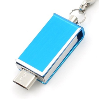 Metal Waterproof Rotate OTG Phone U Disk 32GB USB Flash Drive ForAndriod And Computer+Free key chain anti-loss_Blue - intl
