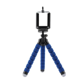 Mini Flexible Camera Tripod Octopus Tripod Holder Stand Mount forPhone Camera Universal Tripods for Gopro Hero3/4(blue)+Clip Holder- intl