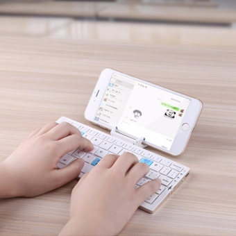 Mini Folding Bluetooth Wireless Keyboard for Tablet&Smartphone,Aluminum Alloy Housing with stand, Portable &lightweight - intl