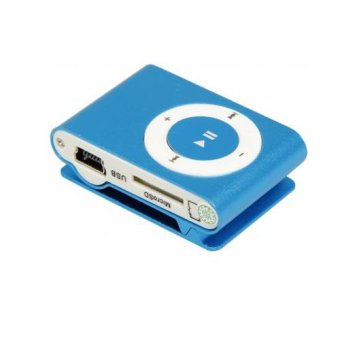 Mini Metal MP3 Player with Clip (Light Blue)