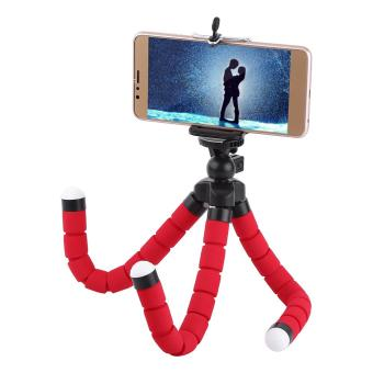 Mini Octopus Flexible Tripod Stand Bracket Holder With Phone ClipFor Cellphone (Red) - intl