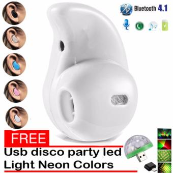 Mini Wireless Bluetooth Earphone (White) S530 V4.0 Music SportHeadphone Phone Headset Ear Hook with free Usb Christmas Led DiscoParty Light