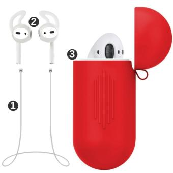 misodiko Pack of 3 Accessories for Apple AirPods Air Pods, Soft Silicone Protective Cover Pouch Case& Anti Lost Strap& Ear Cover Hooks - intl