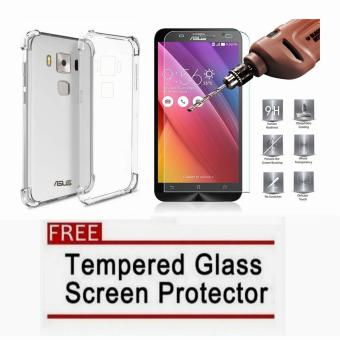 "MobileHub German Import Shockproof Silicone Clear Case For AsusZenfone 3 Max 5.5"" ZC553KL (Clear) with FREE Tempered Glass ScreenProtector (Clear) Price Philippines"