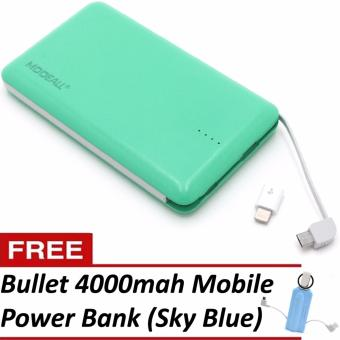 MODEALL M-04 20000mah Triple Port PowerBank (Apple Green) With FreeBullet 4000mah Mobile Portable Power Bank (Sky Blue)