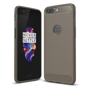 Mooncase OnePlus 5 Case Carbon Fiber Resilient Rugged Armor CaseCover Grey
