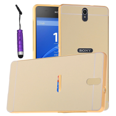 Moonmini Hard PC Cover Mirror Metal Frame Bumper Case for SonyXperia C5 (Gold)