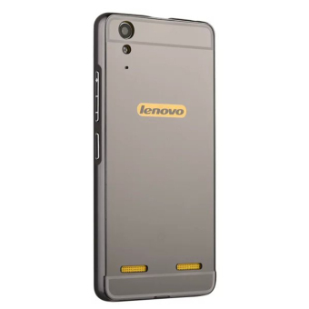 Moonmini Hard PC Mirror Metal Frame Bumper Case for Lenovo K3 A6000 (Black)