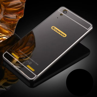 Moonmini Hard PC Mirror Metal Frame Bumper Case for Lenovo K3 A6000 (Black) - 2