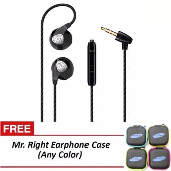 Mr. Right S10 11dB Original SuperBass Smart In-Ear Headphones(Black) with free Mr. Right Headphone Case (any color)
