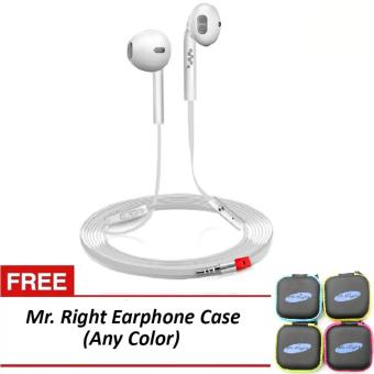 Mr. Right Z600 11dB Original SuperBass Intelligent In-EarHeadphones (White) with free Mr. Right Earphone Case (any color)
