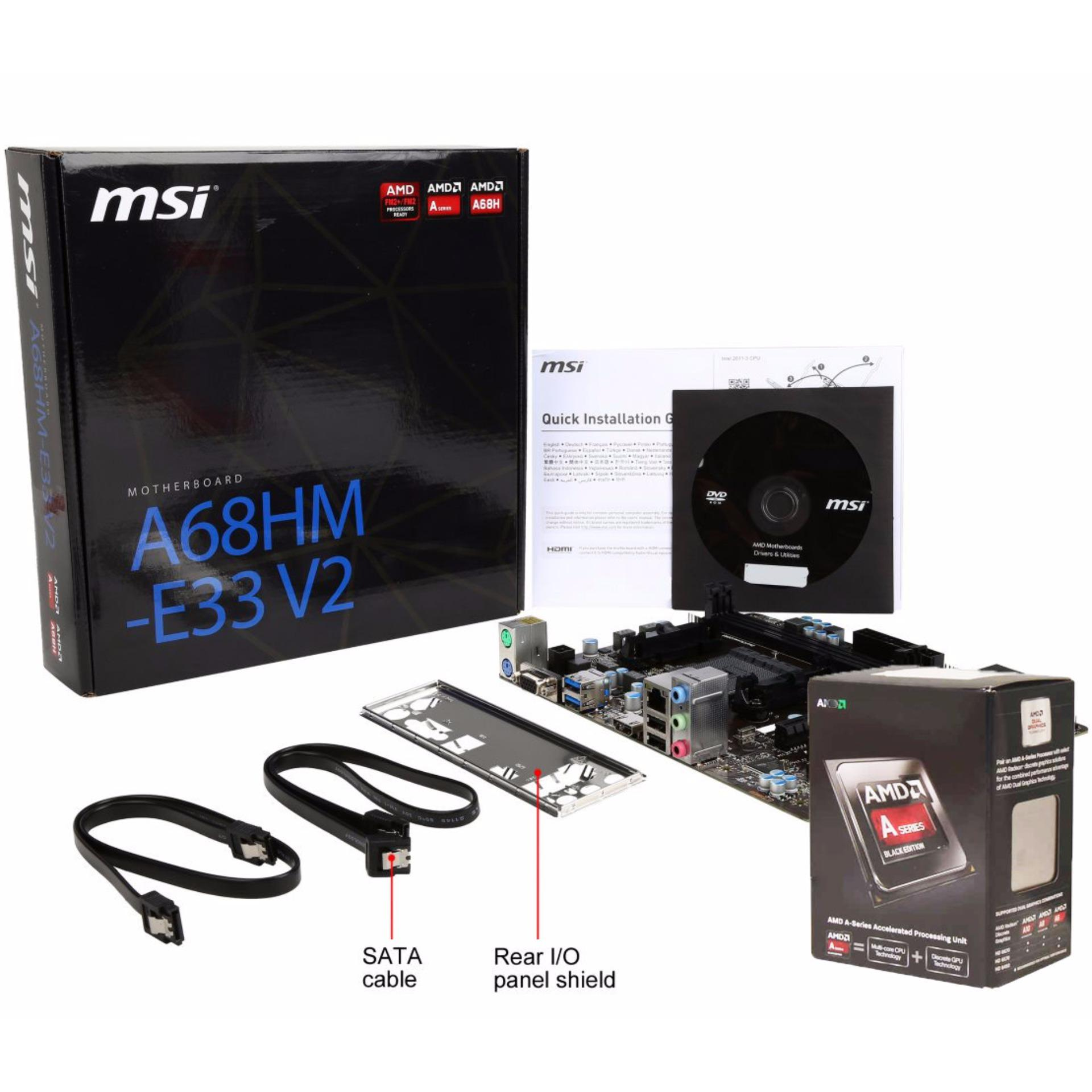 MSI FM2-A68HM-E33 V2 Motherboard with A6 6400k Processor Bundle
