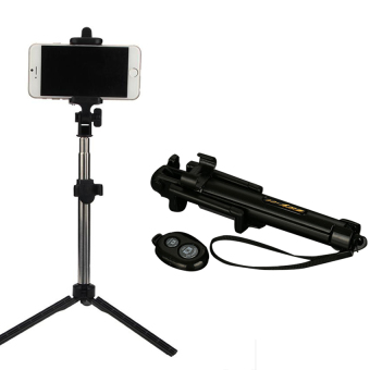 Multi Function Build In Tripod Selfie Stick With Bluetooth Extendable Folding Stick for Iphone Smartphone(Black)