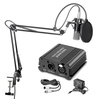 Neewer NW-700 Professional Condenser Microphone & NW-35 Suspension Boom Scissor Arm Stand with Built-in XLR Cable and Mounting Clamp & NW-3 Pop Filter & 48V Phantom Power Supply with Adapter Kit