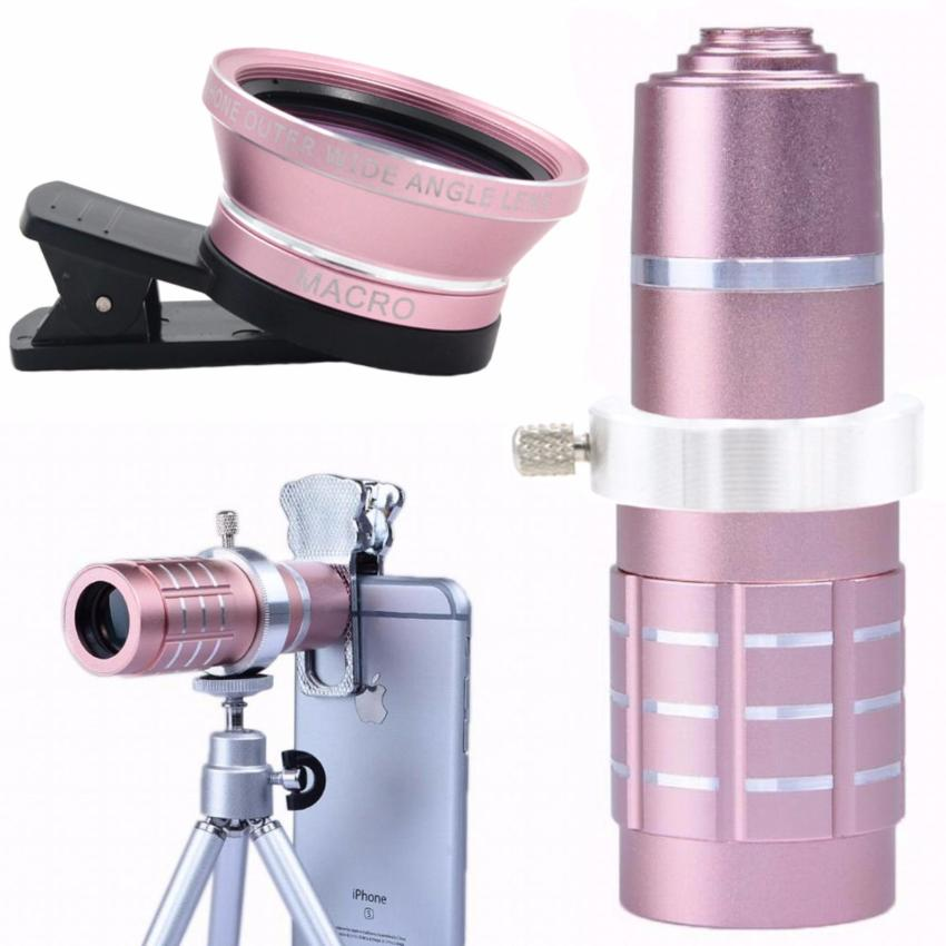 New 12X Optical Zoom and 0.45X Wide Angle Mobile Phone Telephoto Lens (Pink)