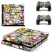new Cartoon Graffiti decal PS4 Skin Sticker For Sony Playstation 4Console protection film +2Pcs Controllers protective cover - intl