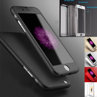 New Front +Back Hard Case Cover Full Body W/Tempered Glass for iPhone 6/6S Black(Export)