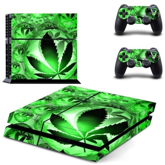 new green leaves PS4 Skin Sticker For Sony Playstation 4 Console protection film +2Pcs Controllers protective cover - intl
