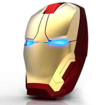 New Iron Man Mouse Wireless Mouse Gaming Mouse gamer Mute ButtonSilent Click Adjustable computer mice(Gold) - Intl