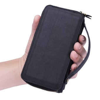 NEW Zipper Leather Cash Multifunction Card Slot Wallet HolsterLeather Case For Samsung Galaxy S7 Phones Bag (Black) - intl