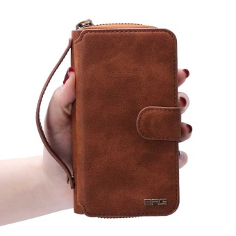 NEW Zipper Leather Cash Multifunction Card Slot Wallet HolsterLeather Case For Samsung Galaxy S7 Phones Bag (Brown) - intl