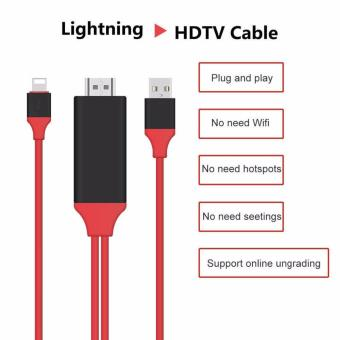 Newest 2m for 8 pin Lightning To HDMI/HDTV AV TV Cable Adapter 1080P For Apple iPhone 7 7S plus 6 6S Plus 5S iPad Mini iPad Air (black&red)