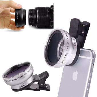 New 0.45X Phone Lens  49 MM Wide And 12.5 X MacroSLR Camera (Silver)
