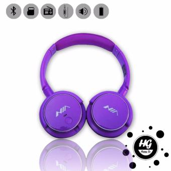 Nia Q1 Bluetooth Headsets with Micro SD and AUX Slot/FM Radio (Purple)