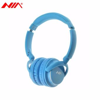 NIA Q1 Foldable Wireless Bluetooth Headphones Sport Music Headband Heavy Bass Stereo Headset with Microphone Support TF Card FM (Blue)